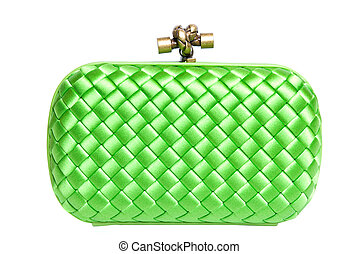 green silk clutch isolated on white