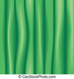 Green silk drapery textile background