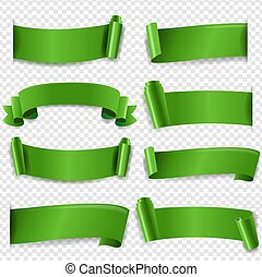 Green Silk Ribbon Isolated Transparent Background