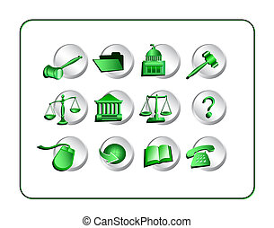 green-silver, ensemble, -, légal, icône