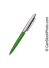 green silver pen isolated on white