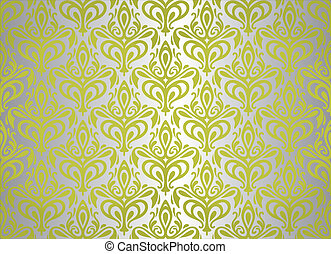 green & silver vintage wallpaper design