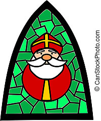Green simple stained-glass with Santa Claus.