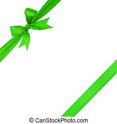 green simple tied ribbon bow composition, isolated on white