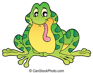 Green sitting frog - vector illustration.
