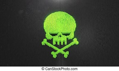 Green Skull Digital background of the many black squaress 4k
