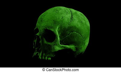 Green Skull Rotating Loop - Closeup of old human skull...
