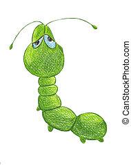 sleepy caterpillar - Green sleepy caterpillar on white ...