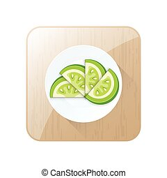 Green Sliced Tomato 3D Icon  and button