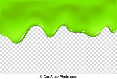 Green slime drip isolated on transparent background. Dripping paint. Halloween mucus realistic 3d vector illustration.