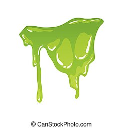Green slime. Goo blob splashes, toxic dripping mucus. Slimy splodge and drops, liquid borders. Cartoon isolated vector decorative forms of playing blotch. Snot.
