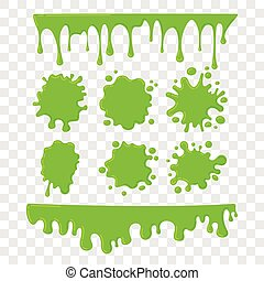 Green slime vector set on checkered transparent background....