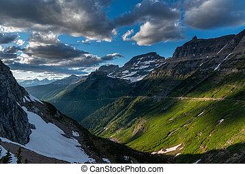 Green Slopes of Mountains Along Logan Pass