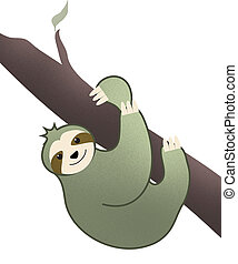 Green Sloth Hanging in Tree Illustration Isolated on White with Clipping Path