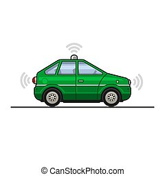 Green Smart Car Icon with Sensors and Radar. Vector...