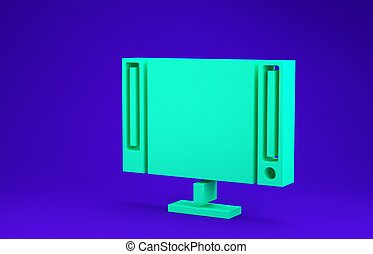 Green Smart Tv icon isolated on blue background. Television sign. Minimalism concept. 3d illustration 3D render