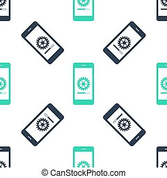 Green Smartphone update process with gearbox progress and loading bar icon isolated seamless pattern on white background. System software update and upgrade concept. Vector