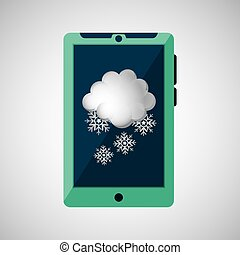 green smartphone, weather cloud snow icon design