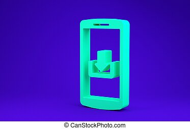 Green Smartphone with download icon isolated on blue background. Minimalism concept. 3d illustration 3D render