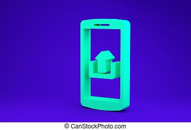 Green Smartphone with upload icon isolated on blue background. Minimalism concept. 3d illustration 3D render