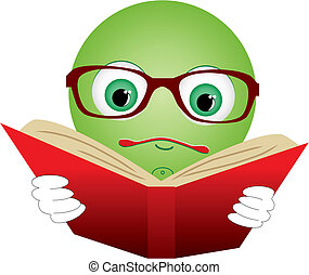 Green smiley-ball in glasses read red book, vector illustration