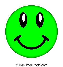 Green smiley face on a white background