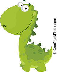 green smiling dino - illustration of a green smiling dino