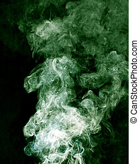 green smoke on a black background