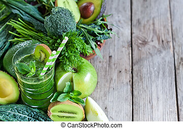 Green smoothie background - Green detox smoothie with raw ...