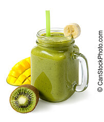 Green smoothie banana kiwi mango in glass jar isolated on white background