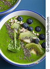 green smoothie bowl spinach kiwi blueberry banana with chia ...