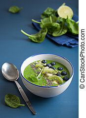 green smoothie bowl spinach kiwi blueberry lime banana with ...