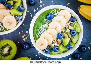 Green smoothie bowl with banana, kiwi, blueberry, granola