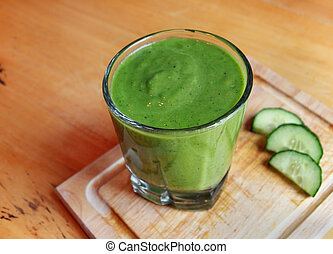Green Smoothie Drink - A fresh, green blended smoothie drink...