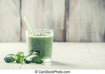 Green smoothie from different vegetables