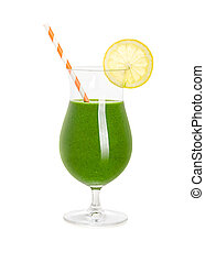 Green Smoothie in a cocktail glass on a white background