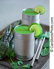 Green Smoothie in Metal Cans - Healthy kale and spinach ...