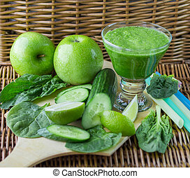 Green smoothie of spinach, Apple, cucumber and lime