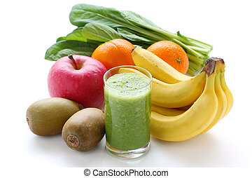 green smoothie - on a white background