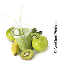 Green smoothie verticle shot - Green fruit smootie with...