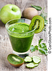 Green smoothie with kiwi, cucumber, apple