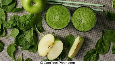 Green smoothie with ripe ingredients