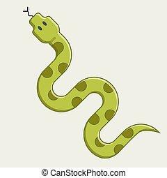 green snake crawling. dangerous viper from