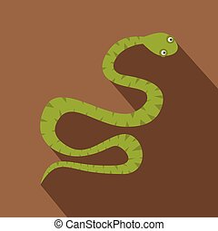 Green snake icon, flat style