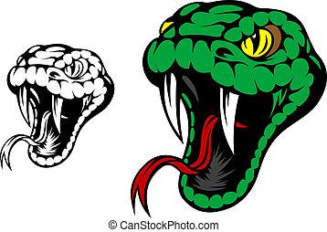Green snake mascot - Head of danger aggressive snake for ...