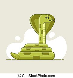 green snake that looks prey. dangerous and poisonous animal in the wild. flat vector illustration