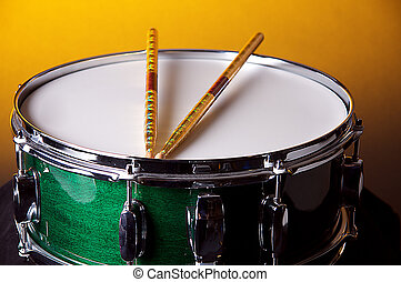 Green Snare Drum On Gold