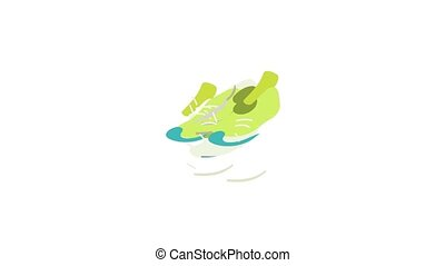 Green sneakers icon animation isometric best object on white backgound