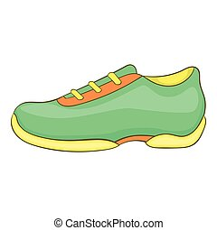 Green sneakers icon, cartoon style