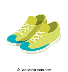 Green sneakers icon, isometric 3d style